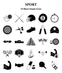 Sport and Fitness 25 icons set for web and mobile