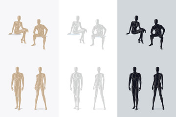 Female Mannequin and Male Mannequin sitting and standing. Vector illustration