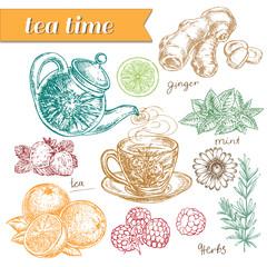 hand drawn set tea