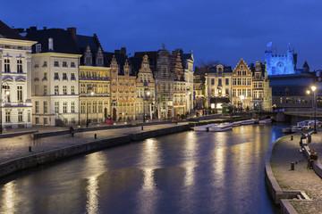 Korenlei in Ghent's old city centre in Belgium