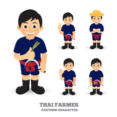 Thai Farmer Mascot set of funny cartoon