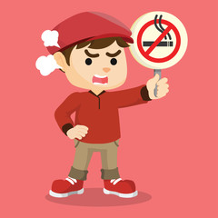 boy holding no smoking sign