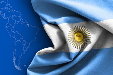 Flag of Argentina on map background