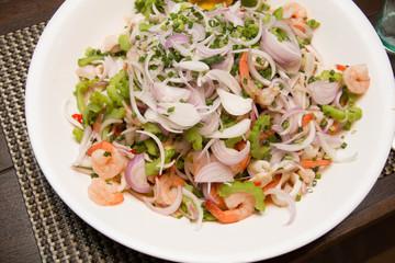 shrimp and vegetables on white dish