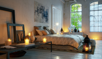 evening bedroom in old loft apartment downtown - Bett in alter Loft Wohnung im Kerzen Licht