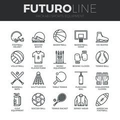 Sports Equipment Futuro Line Icons Set