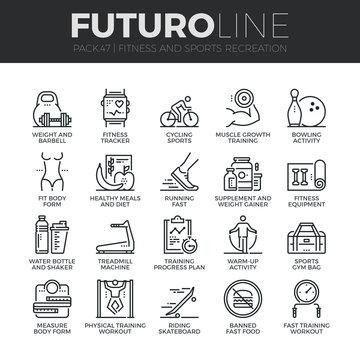 Fitness Recreation Futuro Line Icons Set