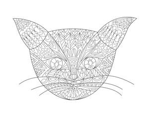 Hand drawn doodle cat head