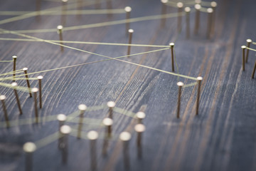 Web of wires, showing connections between groups and singles