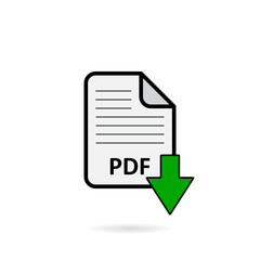 PDF file with green arrow download button on white background vector