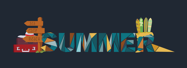 Summer lettering on dark background, dedicated to vacation, holidays and sea, with surf boards, point board with bags and suitcases. Letters based on triangles graphic. Branding vector illustration.