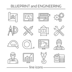 Blueprint And Engineering Linear Icons Set