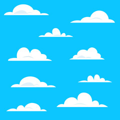 Set of various white cartoon clouds on blue background.