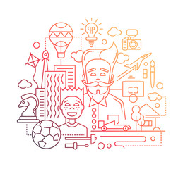 Common interests, hobbies - father and son line design illustration