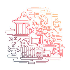 Businesswoman managing money - line design illustration