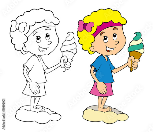 Coloring Kid Having Fun Eating Ice Cream