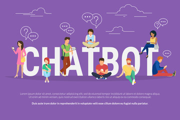 Chatbot concept illustration of young various people using mobile gadgets such as tablet pc and smartphone for chatting with chatter robot. Flat design of guys and women standing near big letters