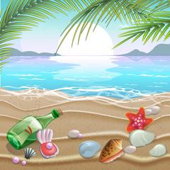 Summer illustration - sea inhabitants on a beach sand against a sunny seascape.