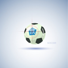 soccer ball with target point. goal concept - vector
