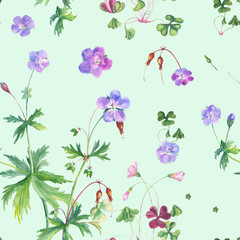 Watercolor floral seamless pattern with geranium