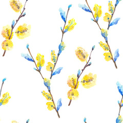 Watercolor floral seamless pattern with blossoming willow catkins
