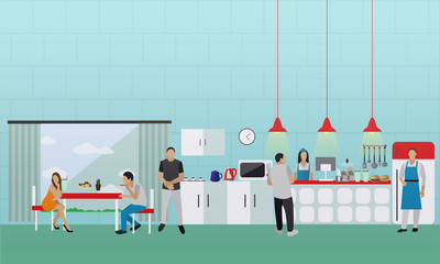 Vector banner with kitchen interior. People having lunch in office cafe