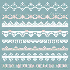 Set of cute straight lace in pastel colors. Can be used for scrapbook, baby shower or wedding design.