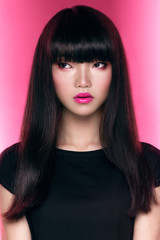 Asian girl with dark haircut