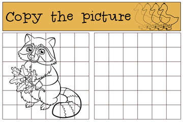 Children games: Copy the picture. Little cute raccoon.