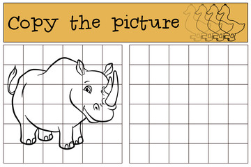 Children games: Copy the picture. Cute rhinoceros.