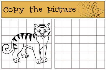 Children games: Copy the picture. Little cute tiger.