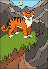Cartoon wild animals for kids. Little cute tiger.