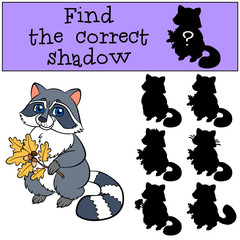 Children games: Find the correct shadow. Cute little raccoon.