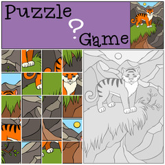 Children games: Puzzle. Little cute tiger.