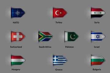 Set of flags in the form of a glossy textured label or bookmark. NATO Turkey  Syria Switzerland SOUTH AFRICA  Pakistan  Israel Hungary Greece Bulgaria.