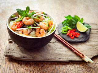 Pho noodle broth asian soup prawn