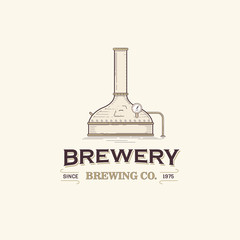 This is vintage beer brewery logo template.
