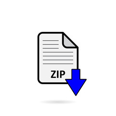 ZIP file with blue arrow download button on white background vector