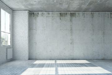 Wand aus Beton in einem leeren Raum