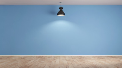 Lampe Vor Blauer Wand Im Wohnzimmer