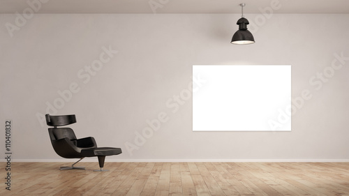 leere leinwand an wand im raum stockfotos und. Black Bedroom Furniture Sets. Home Design Ideas