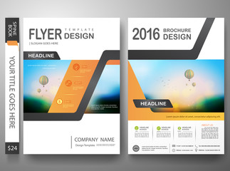 Flyers design template vector.Brochure annual report magazine poster.Leaflet cover book and presentation with balloon and sky background. Layout in A4 size with abstract orange polygons.illustration.