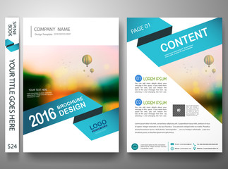 Flyers design template vector.Brochure annual report magazine poster.Leaflet cover book presentation with balloon and sky background. Layout in A4 size with abstract blue shape.illustration.