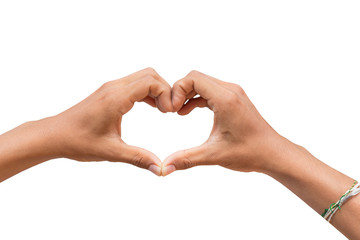 Human hand in heart shape showing love friendship and with clipping path