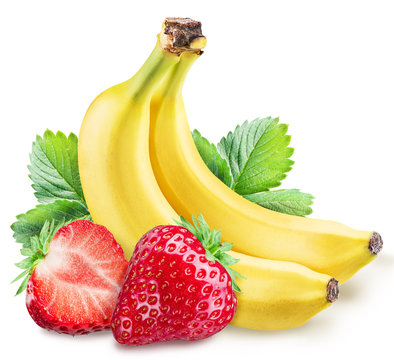 Strawberies and bananas on a white.