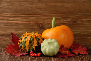 decorative pumpkins and autumn leaves