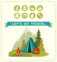 Summer camping. Vector travel illustration.