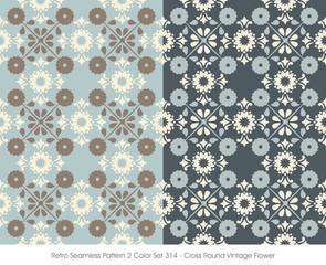 Retro Seamless Pattern 2 Color Set_314 Cross Round Vintage Flower