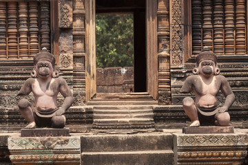 Monkey guardians in the Banteay Srey hindu khmer temple ,  Angkor Wat, Cambodia.