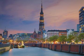 Hamburg. Image of Hamburg- Speicherstadt during twilight blue hour.